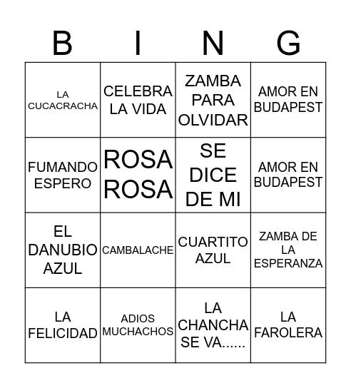 CANCIONES Bingo Card