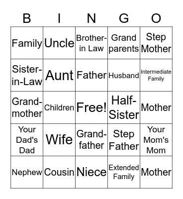 Family! Bingo Card