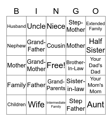 Family! Bingo Card