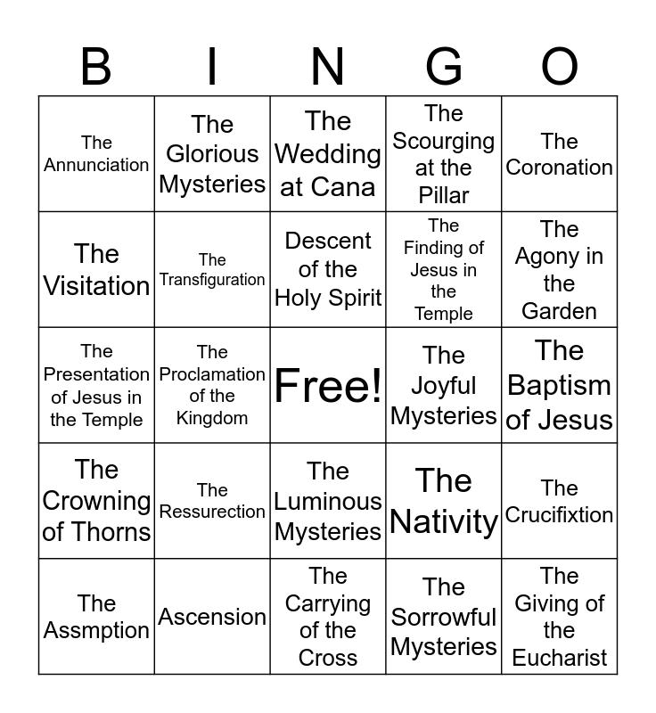 Rosary Bingo Card