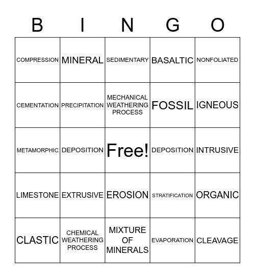 Rock Cycle Honors Bingo Card