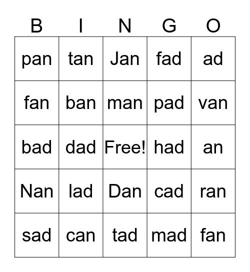 -an and -ad Bingo Card