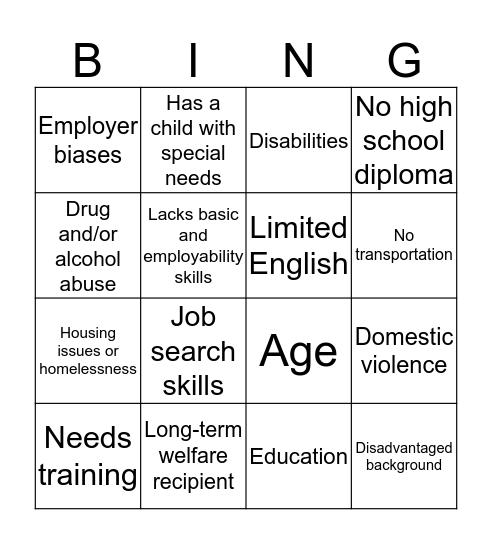 BARRIERS  Bingo Card