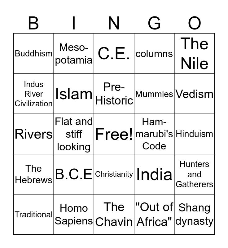 A Walk Through Time Bingo Card