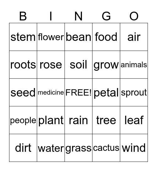 Plants Bingo Card