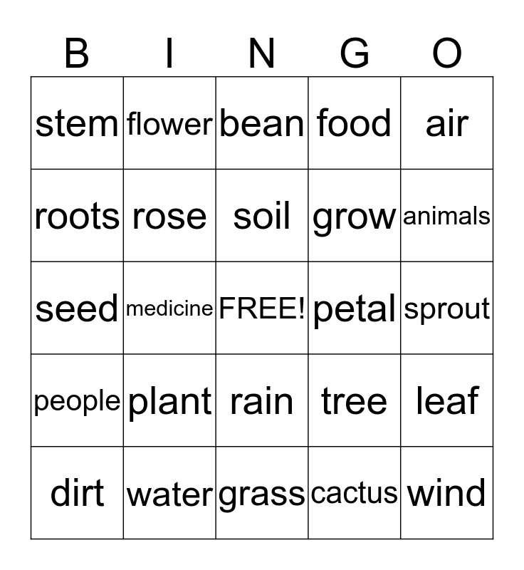Plants Bingo Card