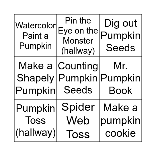 Fall Party Bingo Card