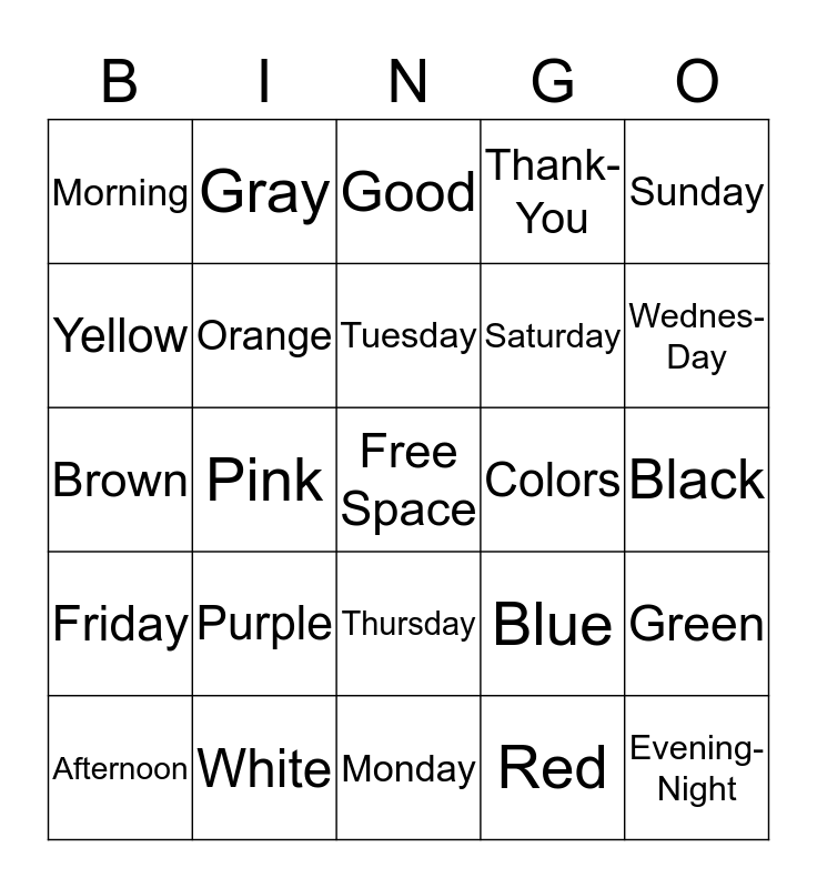 Days of week and colors Bingo Card