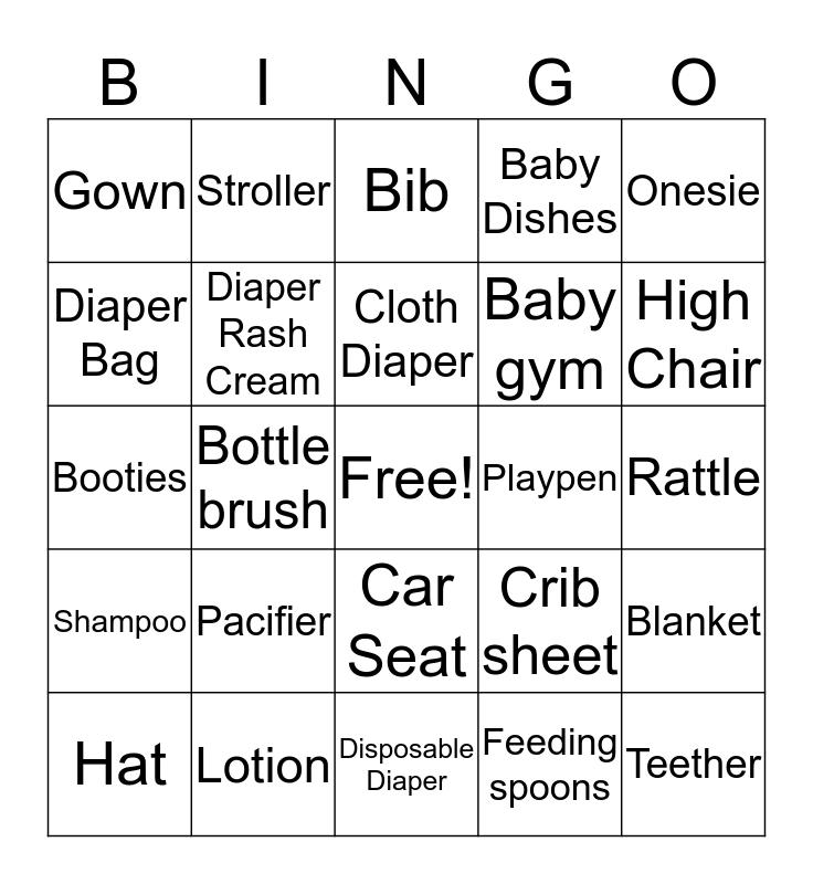 Baby Gifts Bingo Card