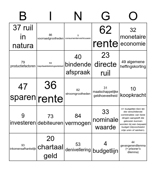 Bingo Crisis en Jong & Oud 1-6 Bingo Card