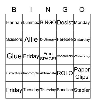 Week 9 and 10 Vocabulary Bingo Card