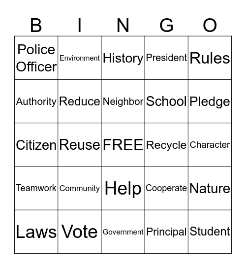 Citizenship Bingo Card