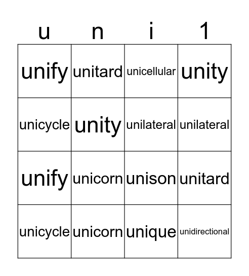 uni means one Bingo Card