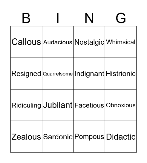 Week 5. TONE Bingo Card