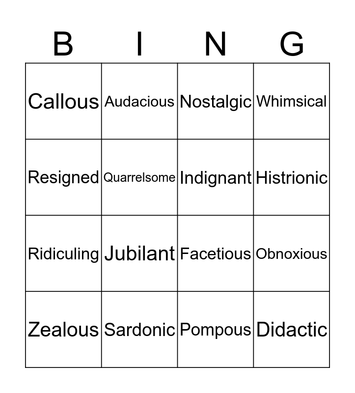 Week 5. TONE Bingo Card
