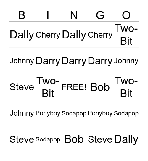 Outsiders Bingo Card