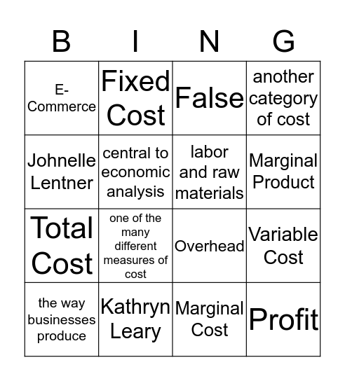 Cost and Revenue Bingo Card