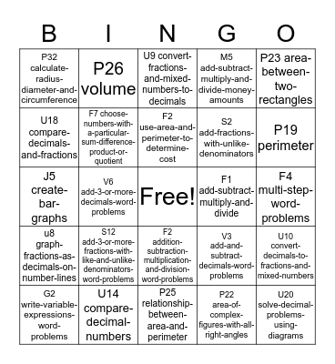 IXL Bingo 4 Bingo Card