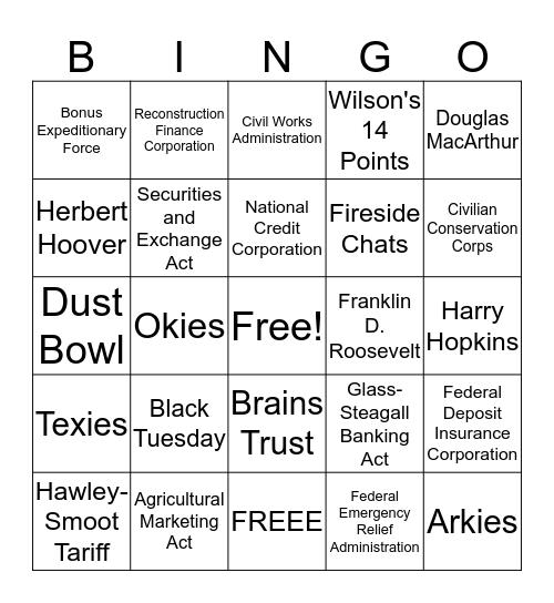 Roaring 20 Bingo Card