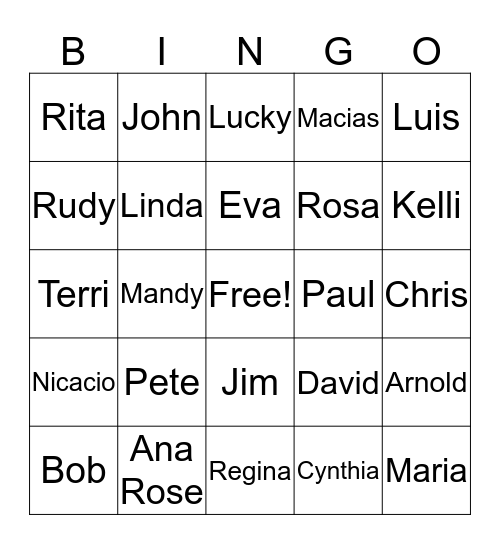 Bingo a La Rosa Bingo Card