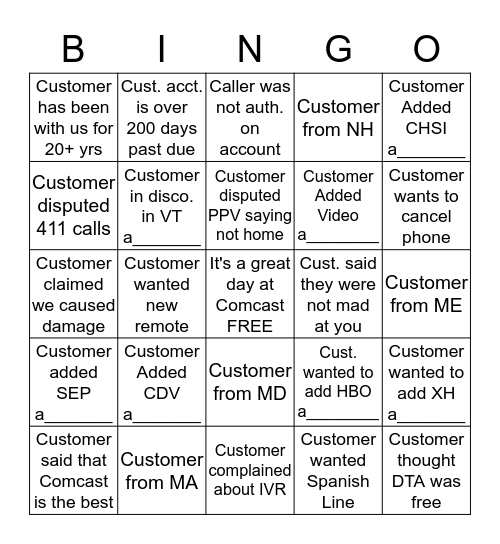 Disco. Bingo      Name:_____________         (please provide acct. # for anything with a______ at the bottom) 1 Square Per Account Bingo Card