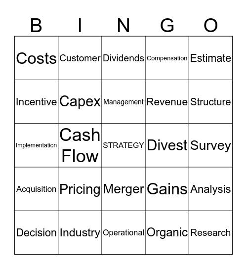 Capstone Bingo Card