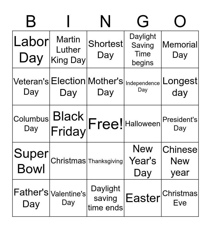 Days Bingo Card