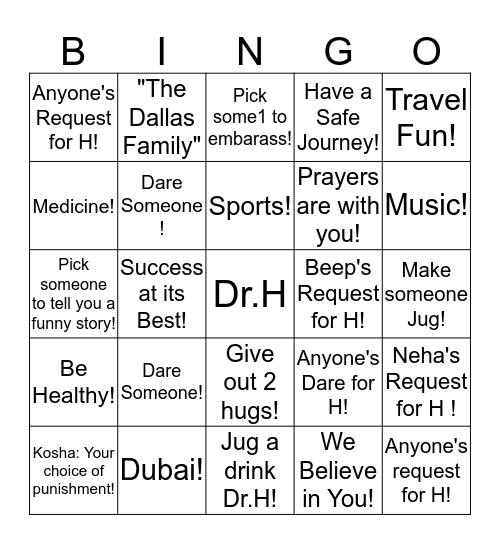 Good Luck Dr.H! Bingo Card