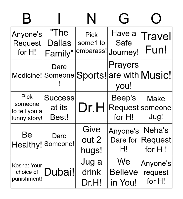 Good Luck Dr.H! Bingo Card