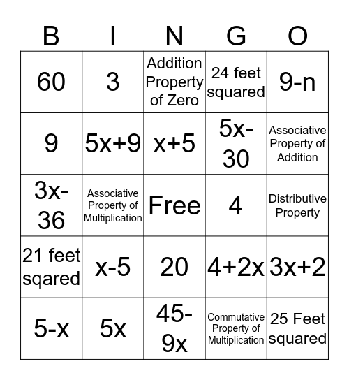 Chapter 1 Review Bingo Card