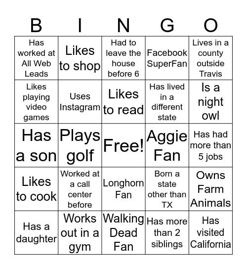 HIL Blackout Bingo Card