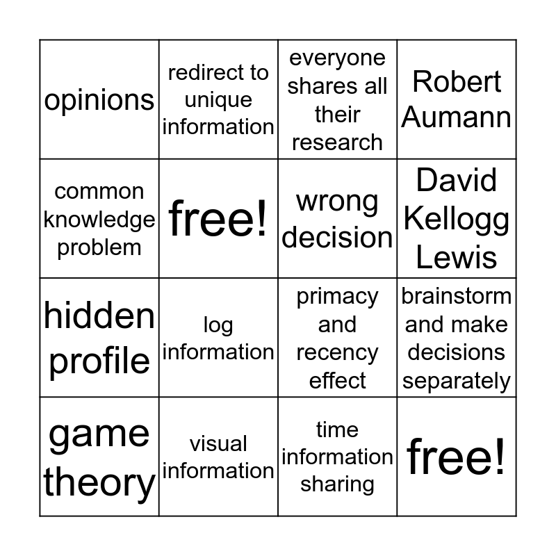 Compass Common Knowledge Bingo Card