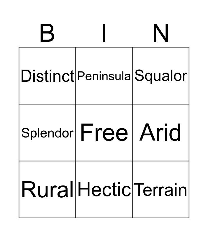 Ayaan's Bingo Card