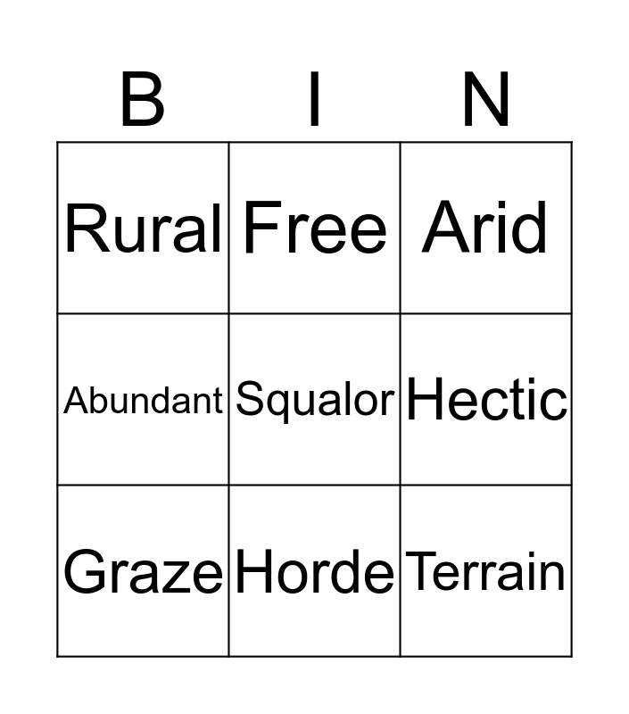 Lesson 3 Word list  Bingo Card