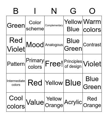 Color Bingo Card