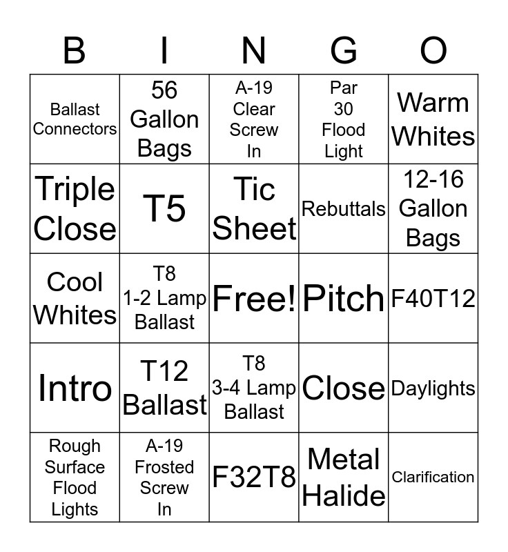 Bulber Bingo Card