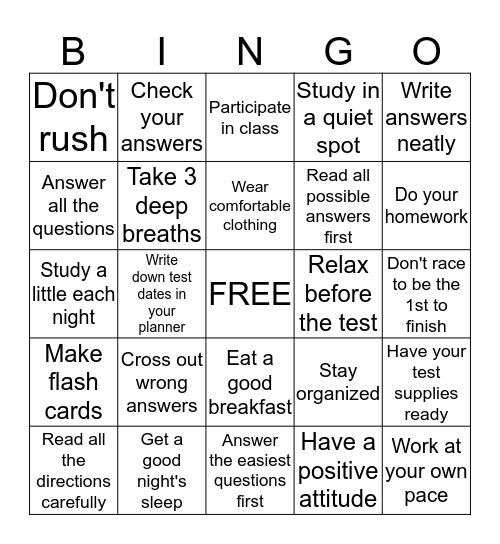 Test Taking Tips Bingo Card