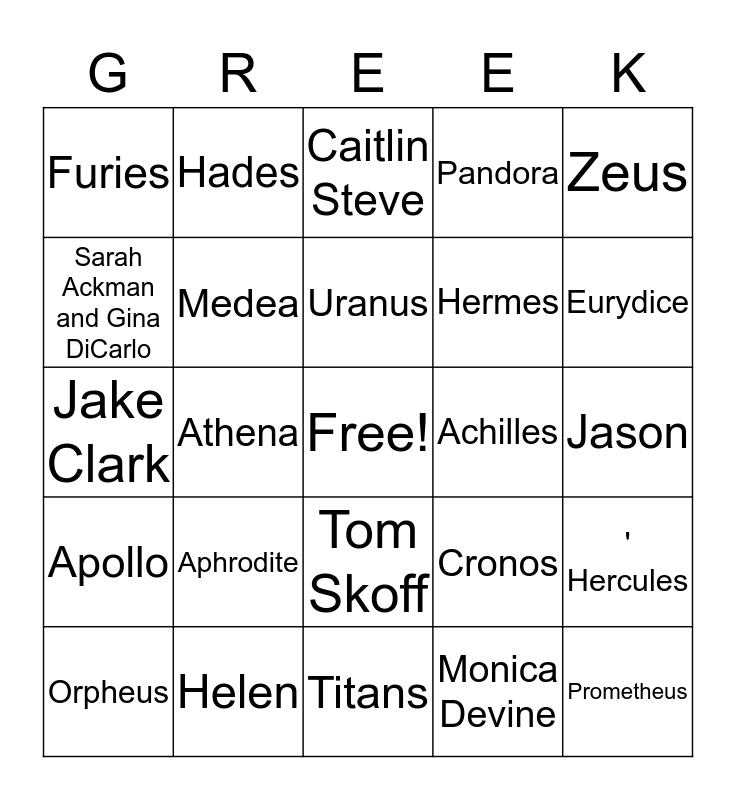 Greek Mythology Olympiaganza Bingo Card