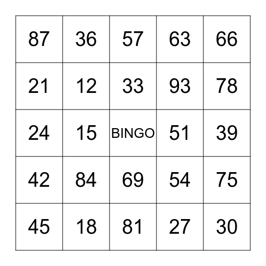 Sequence of 3 Bingo Card
