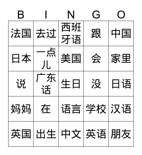 Countries, languages 1 Bingo Card