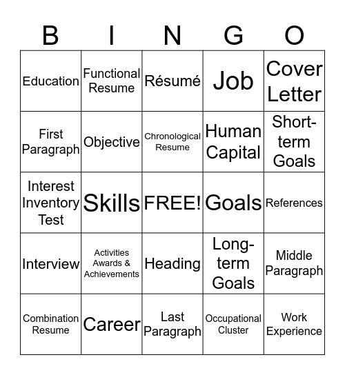 Career Development Terms Bingo Card