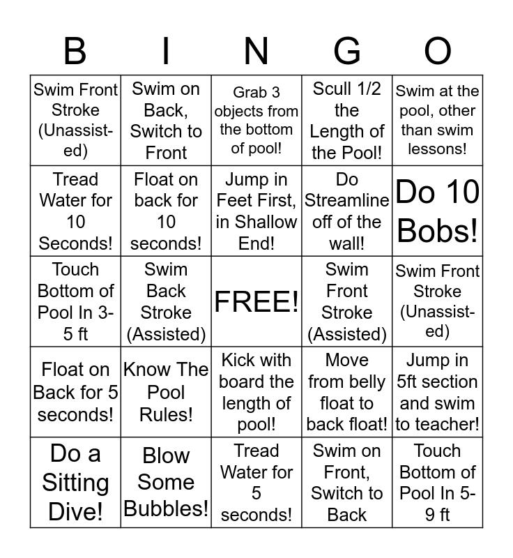 Swim Lesson Bingo Card