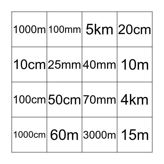 Metric Units Bingo Card