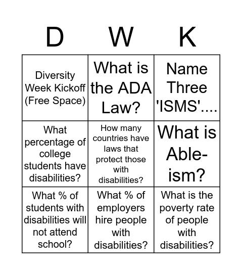 "Diversity Week 'ISM"" Bingo Card"