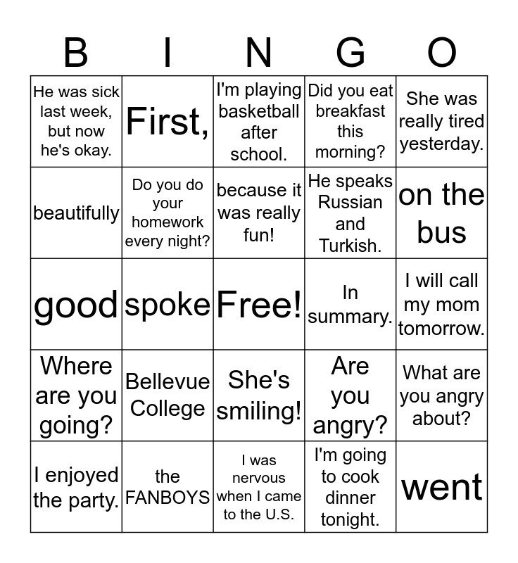 Grammar and Writing Bingo Card