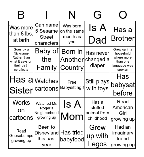Anabelle's Baby Shower Bingo! Bingo Card