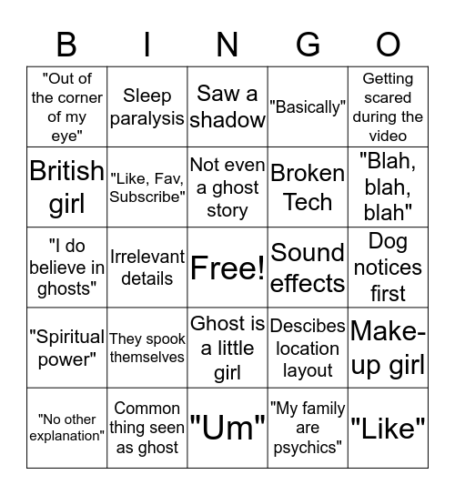 "White Girl ""Paranormal Experience"" Bingo Card"