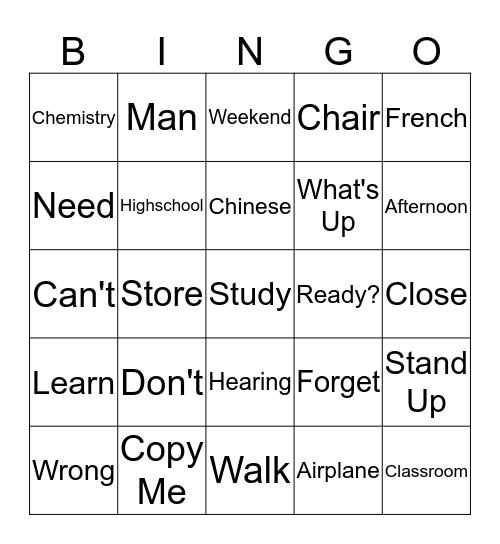 Unit #2 Bingo Card