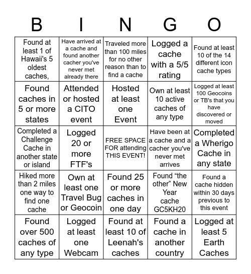 Geo-Bingo Card