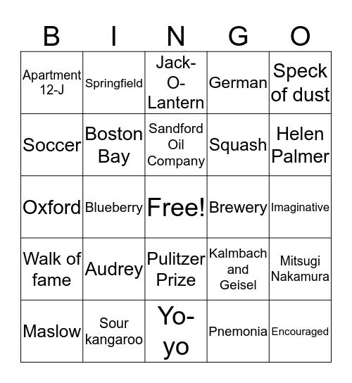 Seuss Six Bingo Card